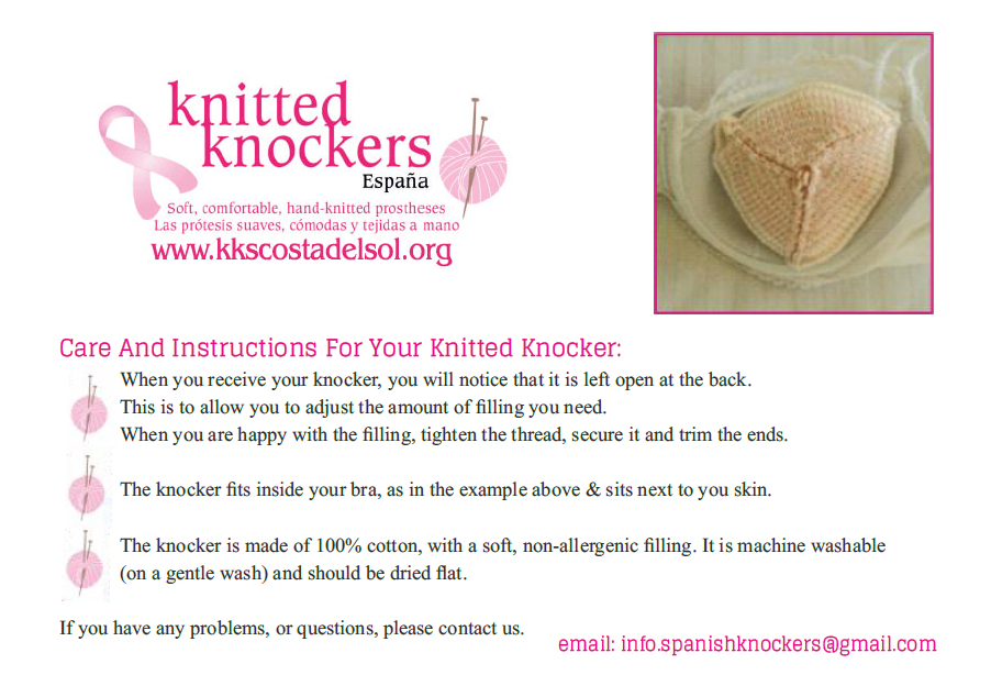 A basic care and instructions sheet for sending with knitted knockers, to give new owners guidance on adjusting the filling and washing the knocker.