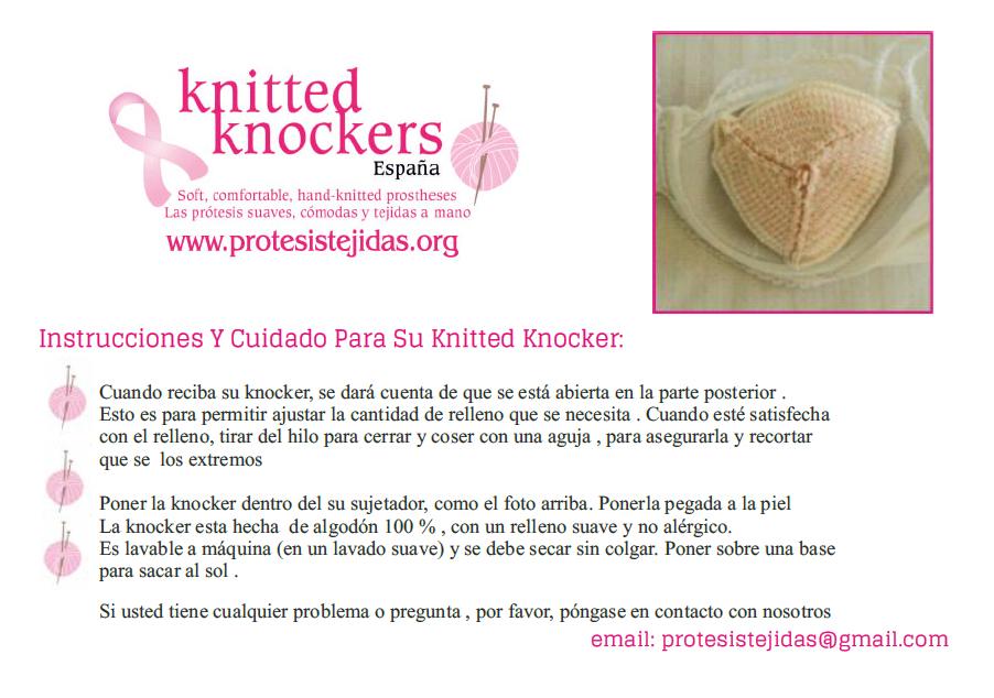 Instrucciones y cuidados básicos para tu knitted knocker, para aprender como arreglar el relleno y lavar la knocker.
